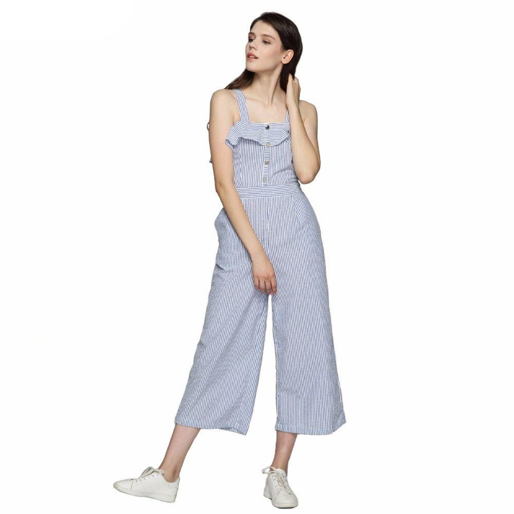 df0fa6a4e 2019 Women Elegant Ruffles Striped Jumpsuits Button Straps Wide Leg ...