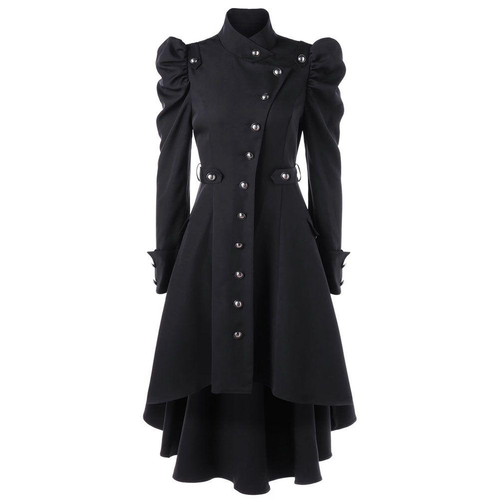 8714ae14 Gothic Women Trench Coat 2018 Winter Autumn Women s Overcoat Windbreaker  Female Long Coat Button Goth Outwear