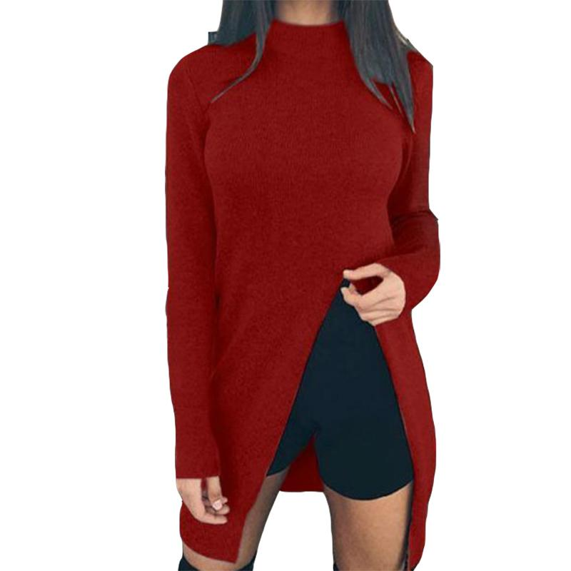 Autumn Winter Sweater Shirts Long Sleeve Top Knitted Pullovers Sexy Split  Casual Knitwear Women Clothing Fashion Sweaters GV148 Online with   36.65 Piece on ... 2f2f967fc
