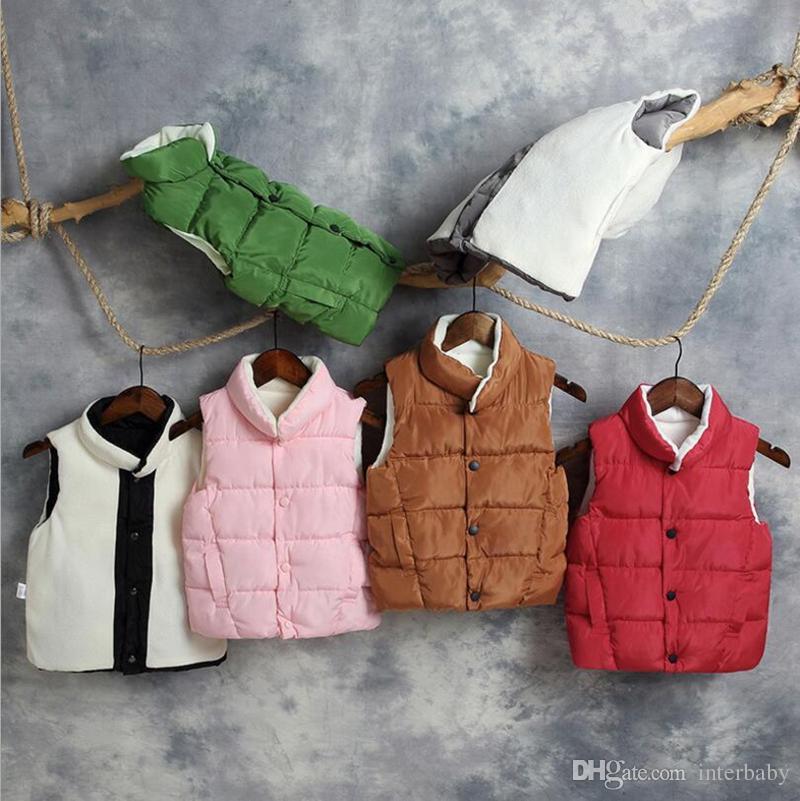 55c22bbe1431 Kids Winter Thicken Waistcoat Girls Fleece Vest Down Coats Infant ...