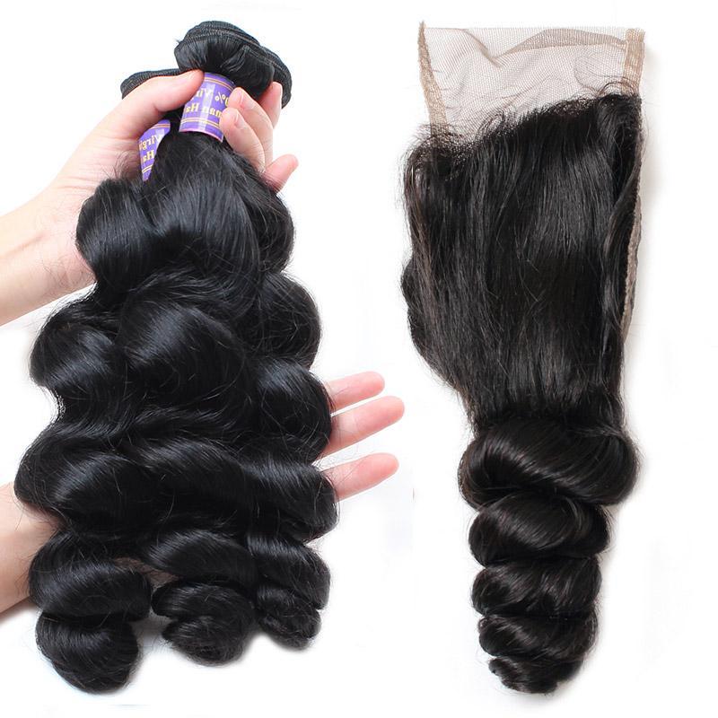 Ucuz Brezilyalı İnsan Saç Demetleri Ile Dantel Kapatma 4 * 4 Su Dalga Perulu Saç Derin Dalga Gevşek Dalga Bakire Saç Uzantıları Derin Kıvırcık