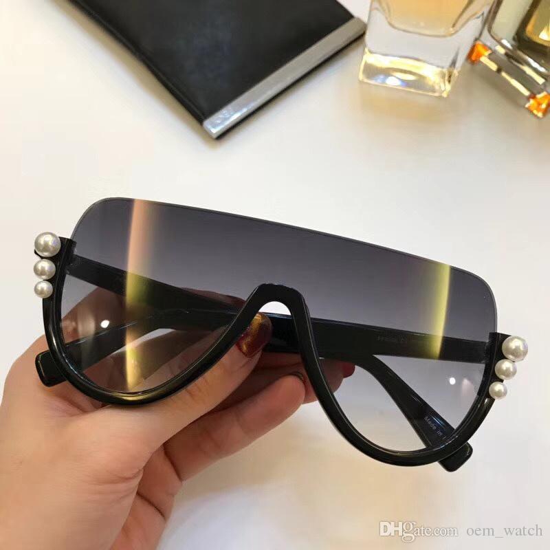 6b51603426 2018 Fashion Unique Sunglasses Luxury Pearl Half Frame Sunglass Stylish  Oversize Sun Glasses For Ladies And Girls Shiny Hipster Sunglasses  Prescription ...