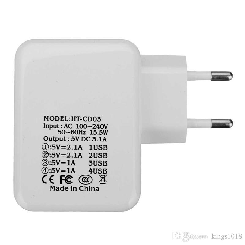 Nuevo adaptador universal de la UE 4 puertos USB HUB Adaptador de corriente HUB UE Cargador de viaje para iPhone para Samsung Galaxy para teléfono