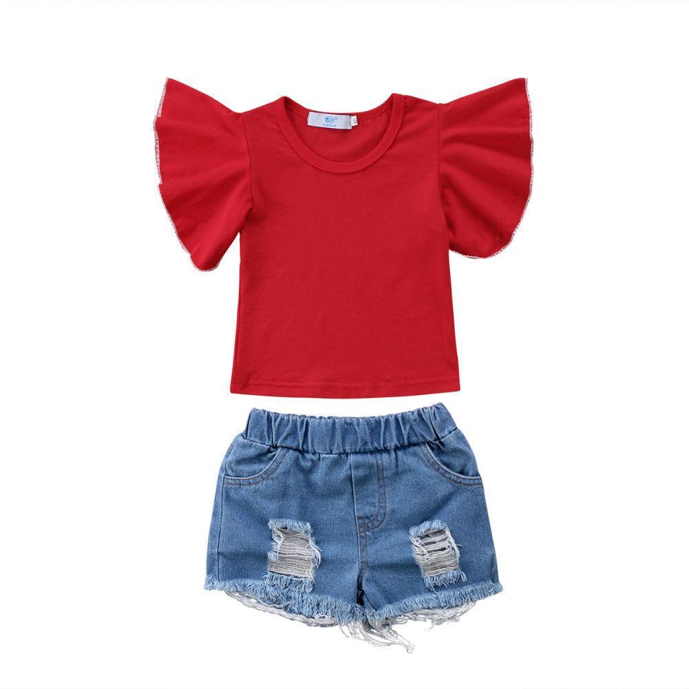 Acheter Mignon Enfant Enfants Bébé Filles Tops T Shirt Rouge Denim Shorts  Pantalons Fille Vêtements Ensemble D été Tenues Ensemble De Vêtements De   22.17 Du ... aa47789ad57