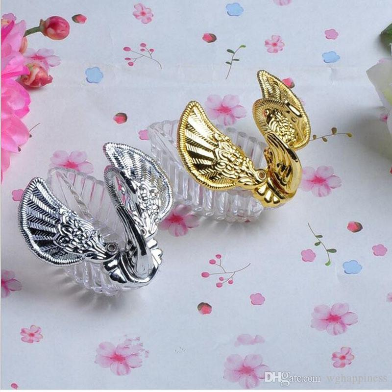 WG European Styles Acrylic Silver Swan Sweet Wedding Gift Jewely Candy Box Candy Gift Boxes Wedding Favors Holders