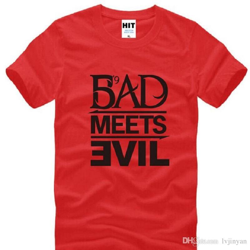 Eminem Bad встречает зло футболки мужчины лето стиль с коротким рукавом o шеи хлопок мужская футболка мода рэп рок мужской футболки S-3XL