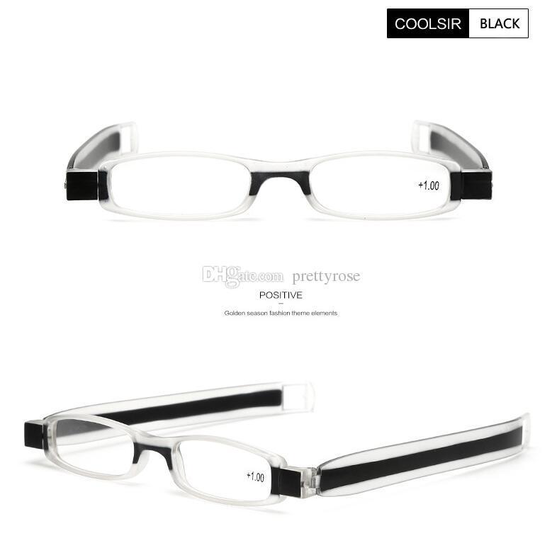 Lunettes de lecture pliantes à rotation de 360 degrés Mini dioptrie des femmes pliables lunettes de lecture presbytes de 1.0 à 4.0 force 6 couleurs