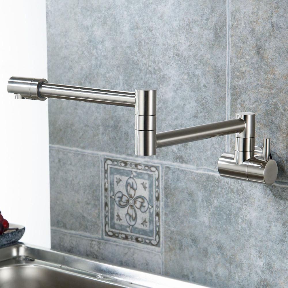 Folding Single Kitchen Faucet Sink Pot Filler Faucet Cold Water Wall