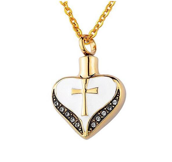 Funeral cremation urn jewelry heart-shaped cross pendants can open the lettering stainless steel mark family pet necklace