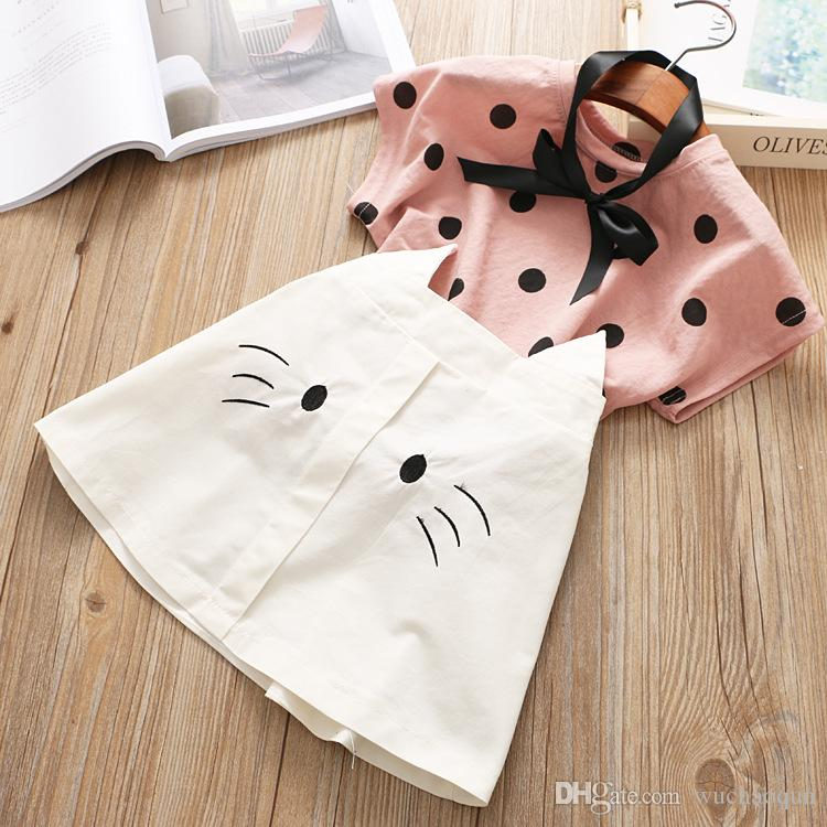 2 colors Sweet Kids Girls Candy Dots Cats Summer Outfits Dots Tees and Cats Skirts 2pcs Sets Sweet Children Clothing