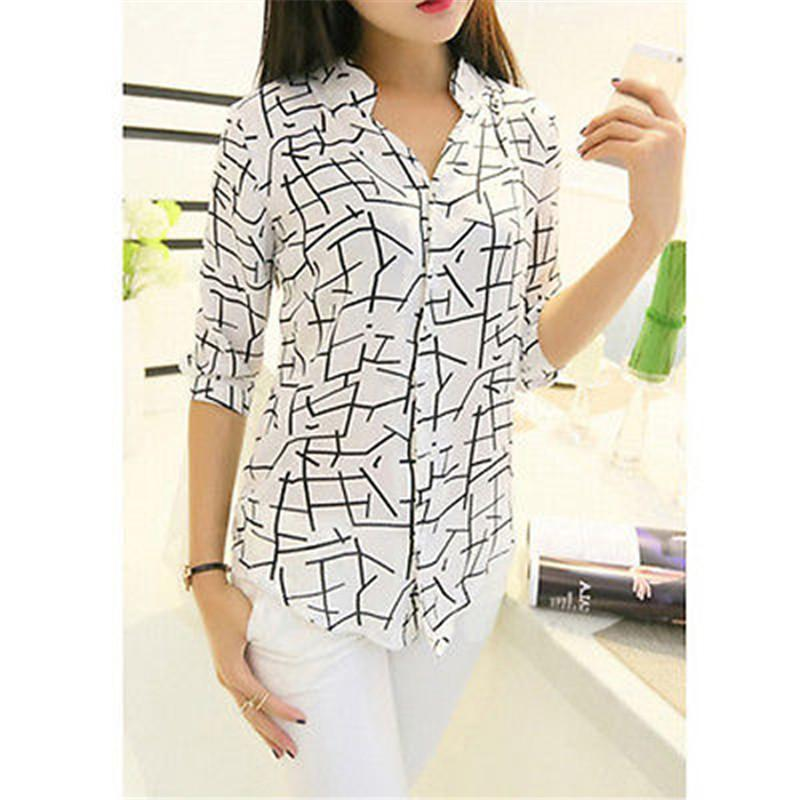 2a6762a25e99 2019 2017 Elegant 3 4 Sleeve Blouses Blusas Turn Down Collar Blouse Womens  Chemise Femme Woman Clothes White Vintage Shirt Tops From Liasheng02