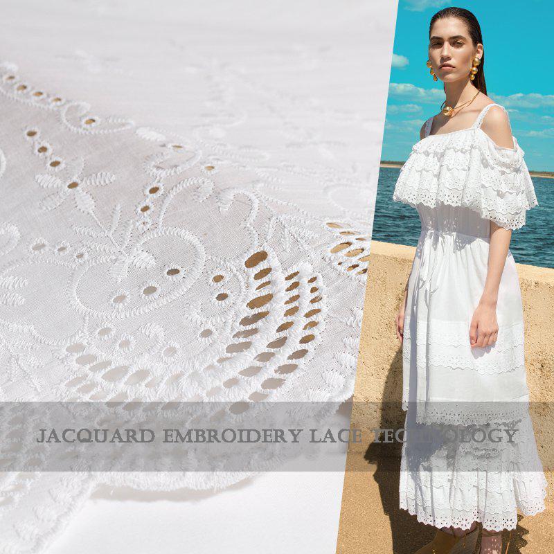 ac342bd3d95 Acheter Haut De Gamme Personnalisé Broderie Jacquard 100% Coton Dentelle  Tissu Pour Les Femmes Robe Largeur 138 Cm Blanc Pur Tissu De Vêtements  Bricolage ...