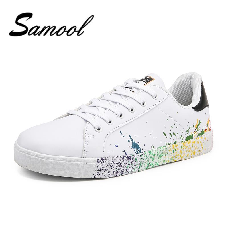 Satın Al Erkek Marka Beyaz Ayakkabı Mix Renkler Mürekkep Boyama