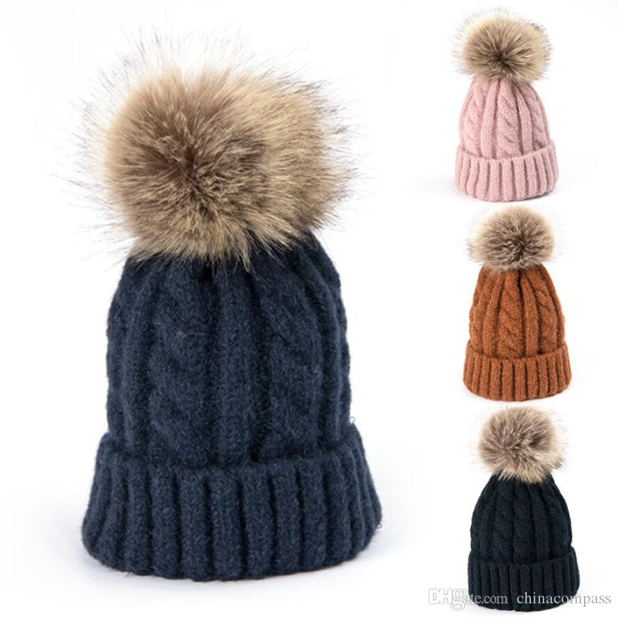 a28d534c1234cc Mom Baby Faux Fox Fur Ball Wool Hat,Solid Color Warm Winter Hat Parent  Child Hats Gift For Christmas Beanie Hats For Women Beanies For Women From  ...