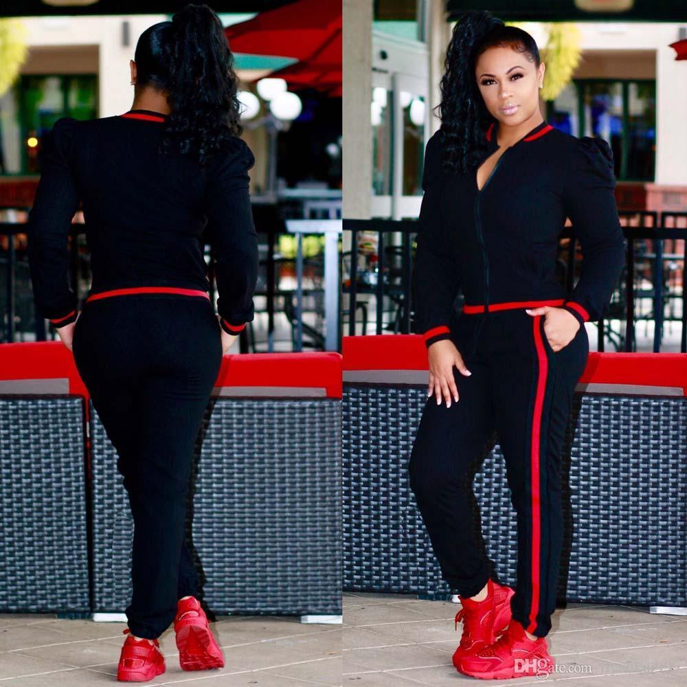 2018 осень женщин плюс размер повседневная мода с длинными рукавами из двух частей Бегун набор дамы спортивный костюм пот костюмы