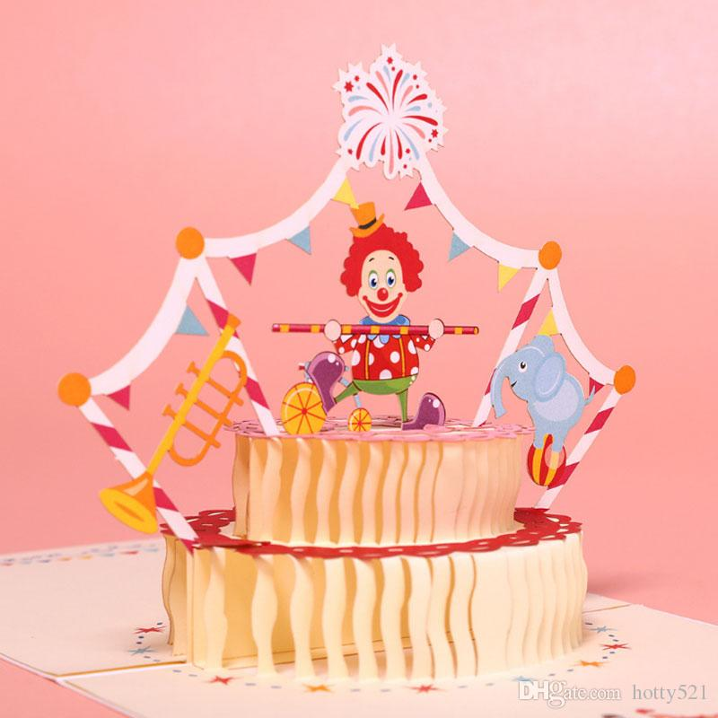3d Three Dimensional Paper Birthday Cake Hollow Out Greeting Cards