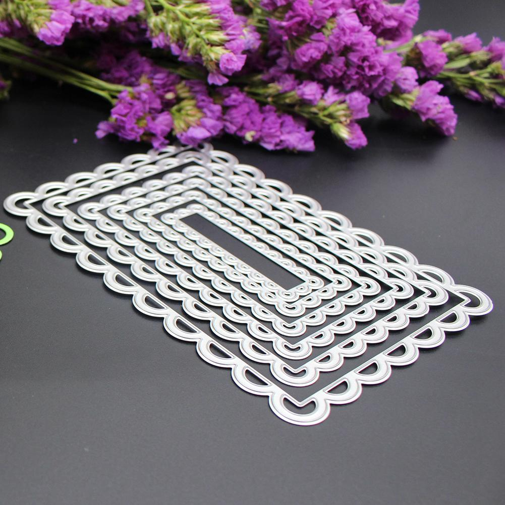 6Pcs Rectangle Lace Frame Dies Cutter Stencils for DIY Scrapbooking Metal Cutting Dies Photo Album Decoration Embossing Craft