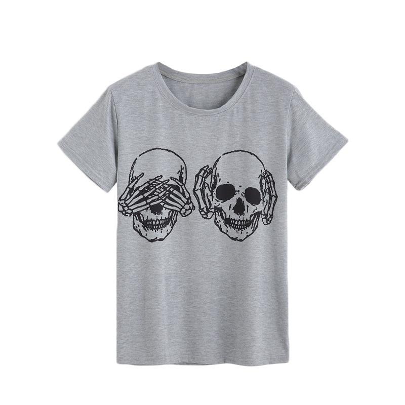 d9a57831ea1c 2019 Womens Tops Korean Summer Tshirt Women Clothes Grey Skull Print Round  Neck Short Sleeve Casual Tshirts Best T Shirt Online Buy Funky T Shirts  Online ...
