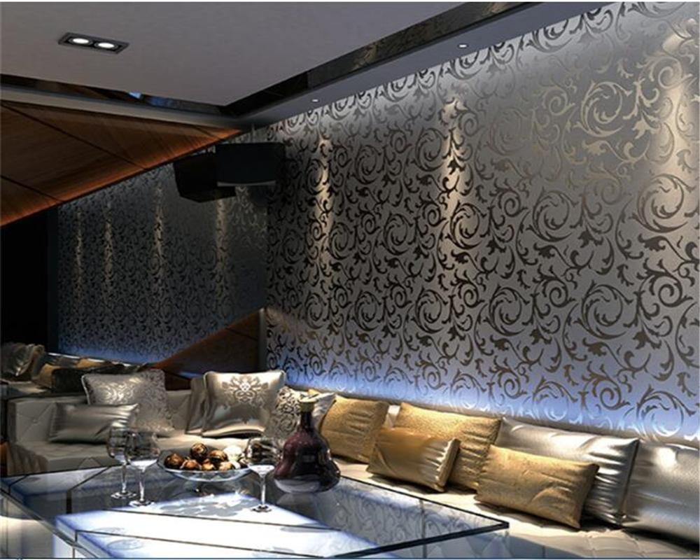 Beibehang Gold Foil Wallpapers 3d Silver Eucalyptus Leaf KTV Ceiling Living Room Bedroom TV Background Wallpaper Sexy From