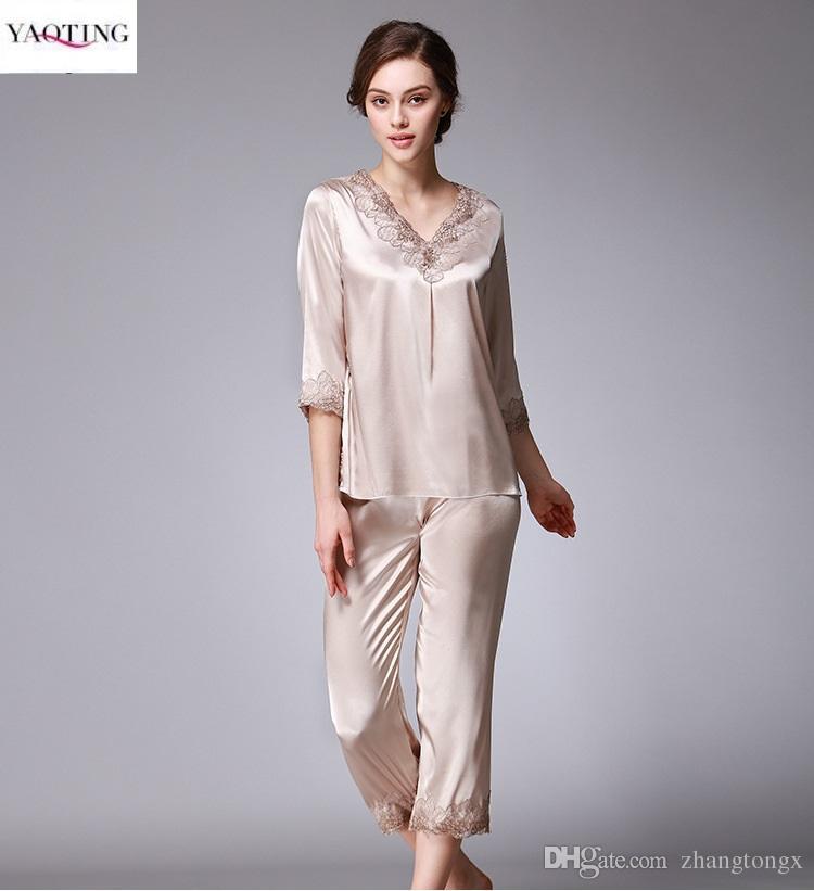 a798127658 2019 New Style Women S Pajamas Home Clothing Sets Lace Trim Anti Real Silk  Sleep Comfortable Shirt Embroidery Pajamas Bathrobe Soft Pajamas Sets From  ...