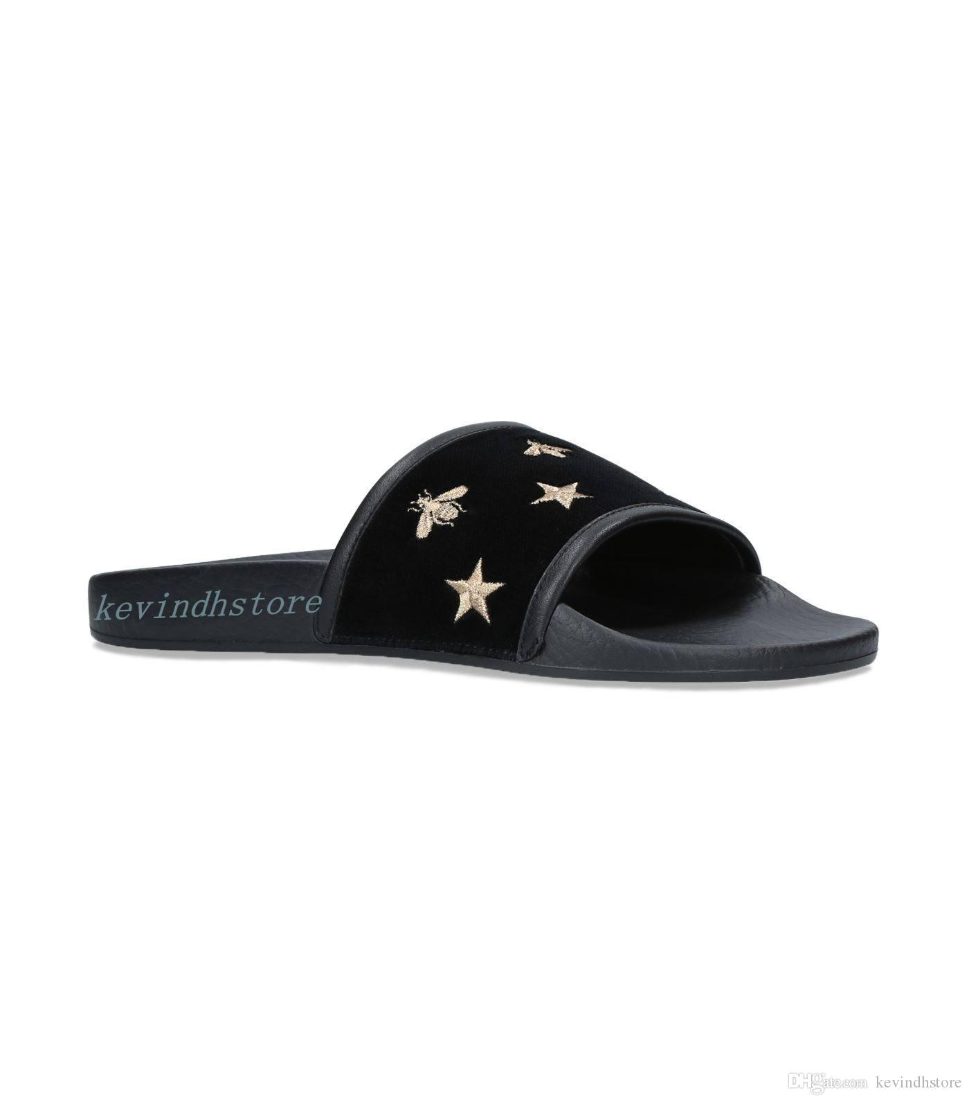 f04500a47c7f Factory Outlet Mens And Womens Fashion Gold Tone Bug And Star Embroidered  Slide Sandals Slippers Causal Flip Flops Loafers For Women Clogs For Women  From ...