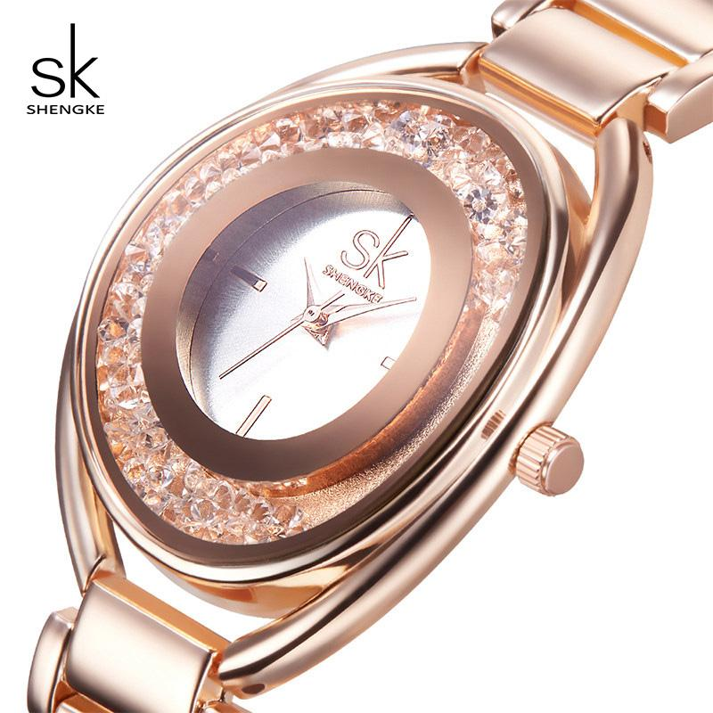 322a2f32de5d Compre Shengke Relojes Mujeres Marca De Lujo Rosa De Oro Pulsera De Cristal  Relojes Reloj De Las Señoras Reloj De Pulsera De Mujer Reloj SK 2018 SK    K0016 ...