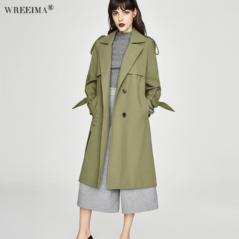 1d6ab62ce8f 2018 Autumn Winter Trench Coat For Women Adjustable Waist Slim Solid Green Coat  White Long Trench Female Outerwear Plus Size UK 2019 From Fenghuangmu