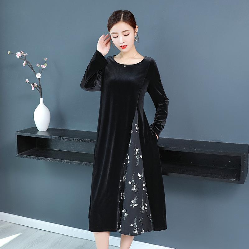 Fashion Elegant Patchwork Floral Dress Ladies Black Plus Size Autumn