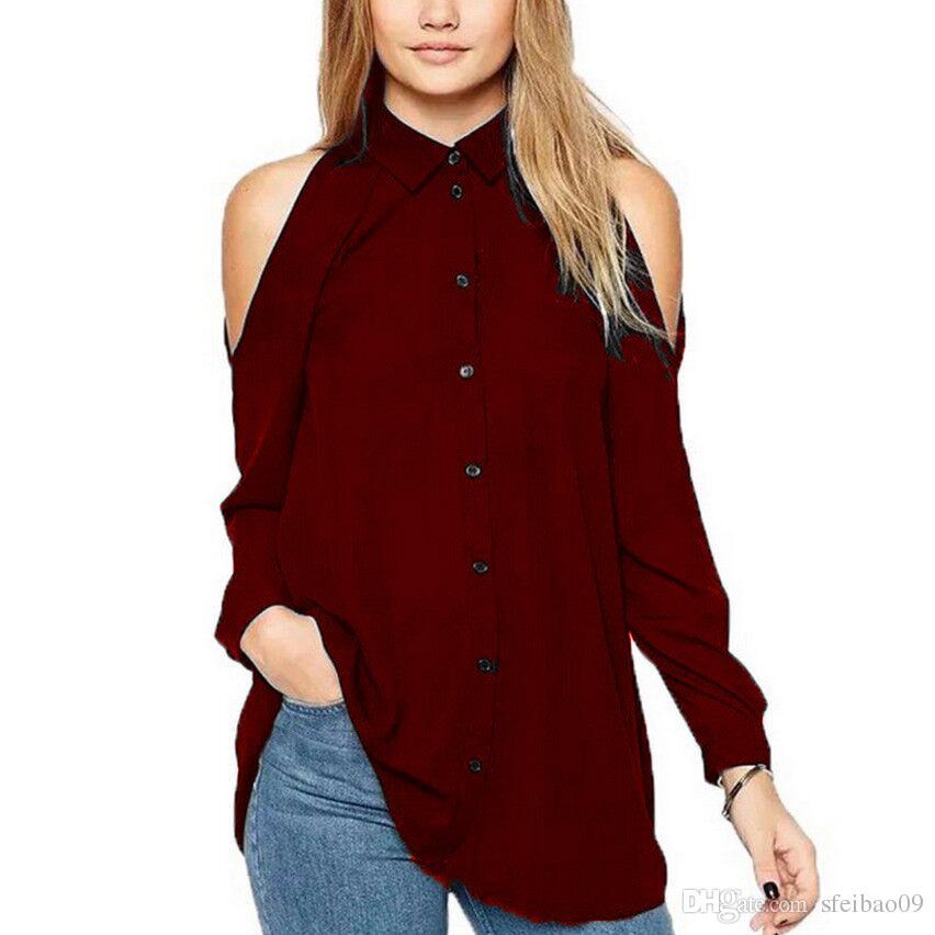 Femmes européennes d'été revers de cou hors de l'épaule à simple boutonnage manches longues occasionnels Tops Plus la taille S- 5XL mode chemisier en mousseline de soie chemises