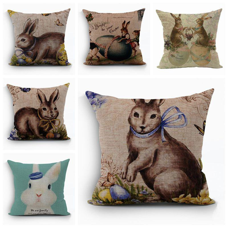 Wholesale Shabby Chic Home Decor Easter Rabbit Cushion Cover Cute Animal Penguin Almofada Cotton Linen Cojines Sofa Chair Couch Pillowcase Outdoor Patio