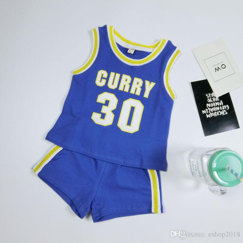 New Hot summer children's beads pull cotton vest set boys and girls baby sports basketball suit