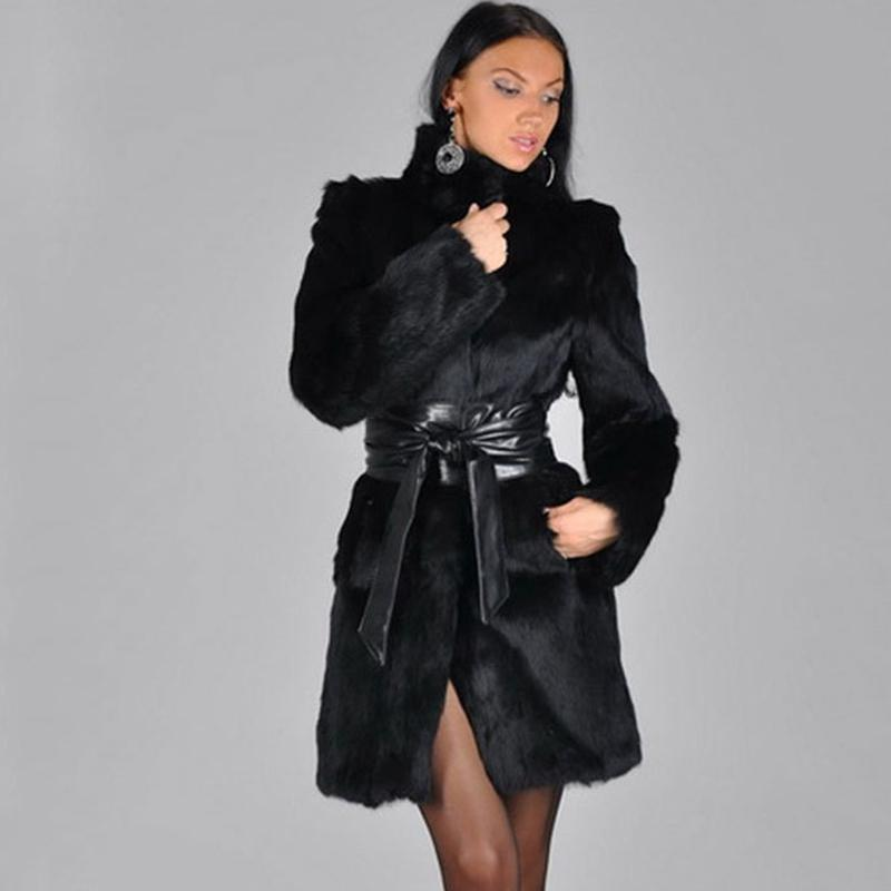 20fd69a5aab 2019 Women S Faux Fur Coats Solid Black Solid Fur Collar Leather Jacket  Women Winter Long Jacket Female Charming Outerwear Plus Size From Stepheen