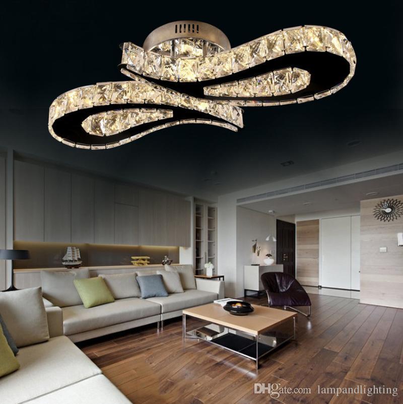 Moderne Deckenleuchte aus hochwertigem Edelstahl mit 36 W LED-Kristallen und plafonnier Luxusdeckenleuchten für den Unterputz-Einbau für das Esszimmer