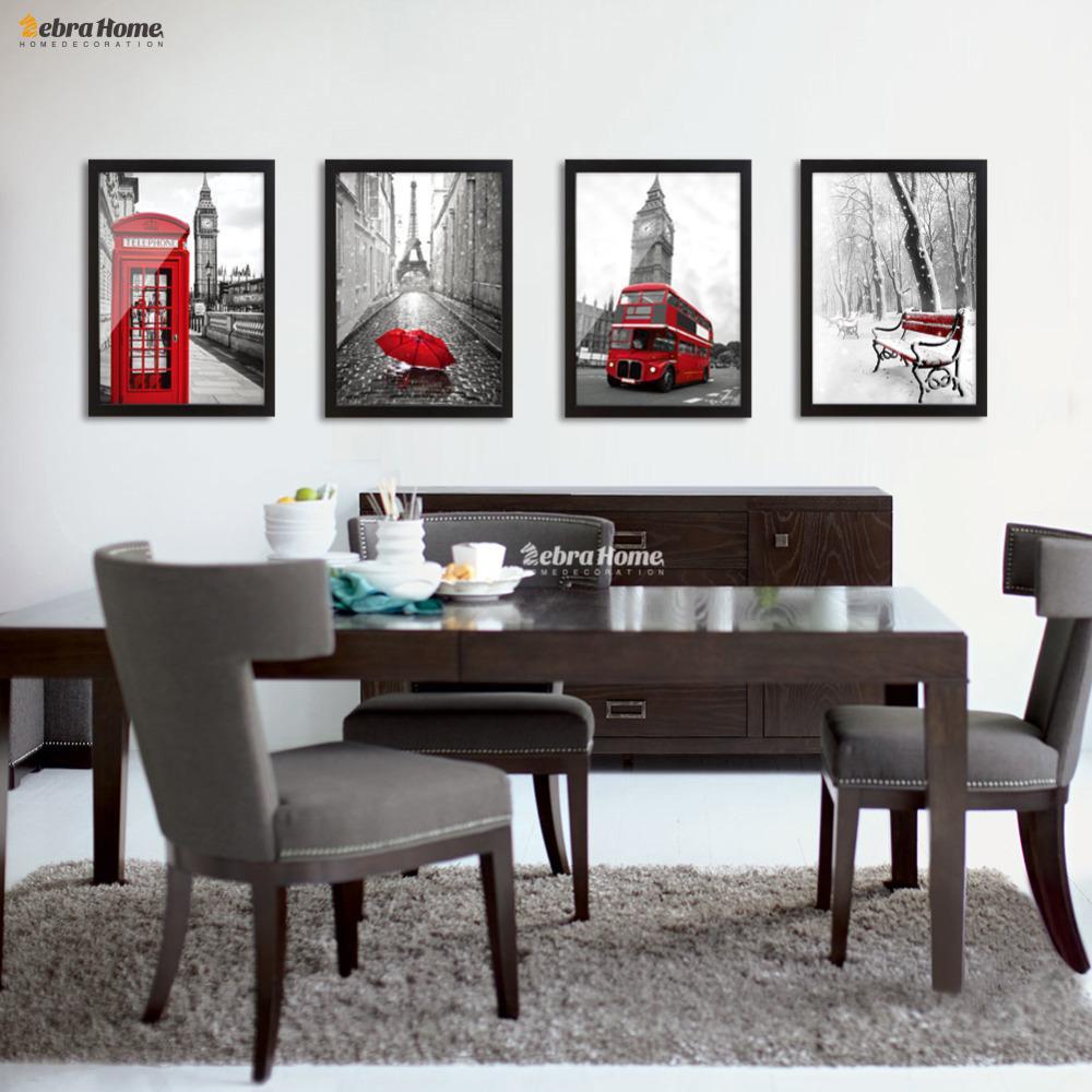 Großhandel Bild Für Wohnzimmer Moderne Klassische Landschaft Schwarz Und Weiß  Rot London Bus Leinwand Kunstdruck Malerei Poster Wandbild Für Leben Von ...
