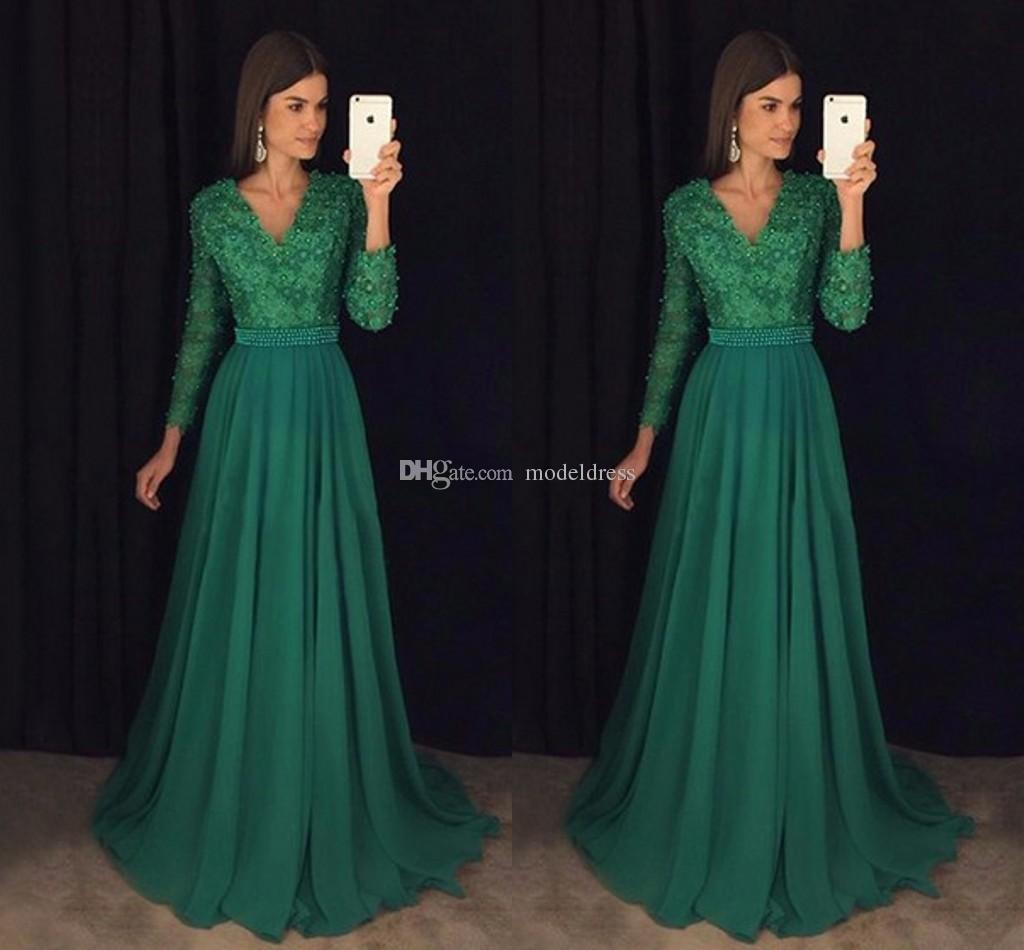 New Formal Dark Green Lace Evening Dresses 2018 Long Sleeves Pearls A Line Floor Length Prom Party Special Occasion Gowns Cheap Custom Made