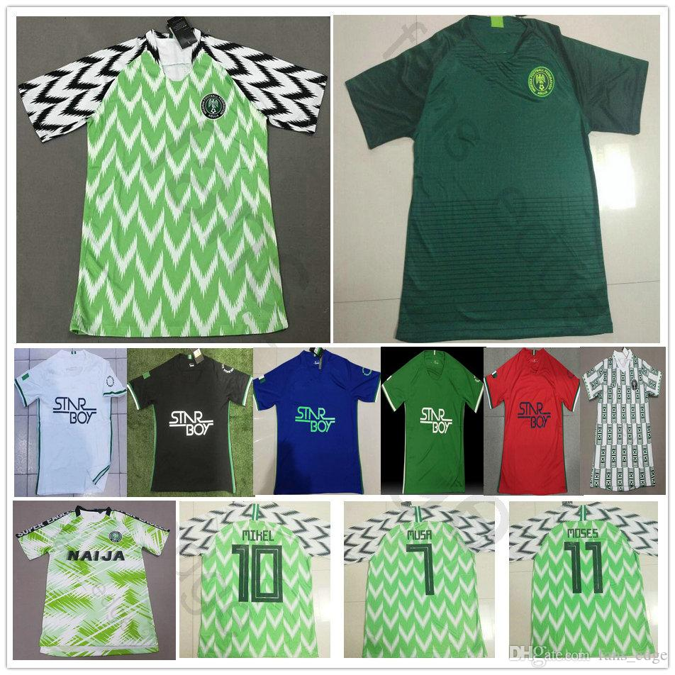 2019 2018 World Cup Nigerian Soccer Jerseys 9 STARBOY 10 MIKEL NDIDI SHEHU  14 IHEANACHO 7 MUSA 18 IWOBI Custom Home Away Football Shirt From  Fans edge 08311556d