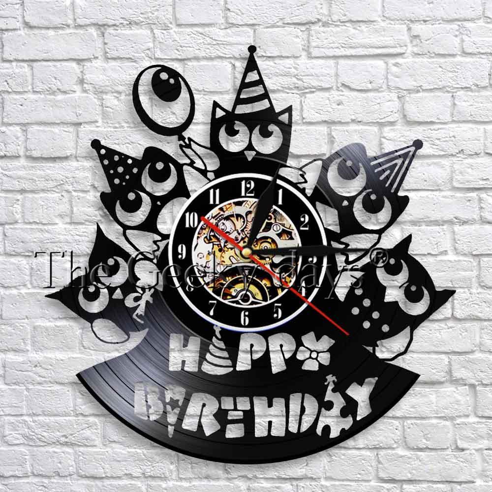 Happy Birthday Wall Clock Party Wall Art Decor Vinyl Record Clock