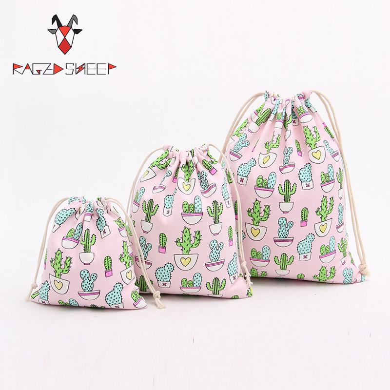 Raged Sheep Fashion Drawstring Cotton Grocery Shopping Bags Folding Shopping Cart Eco Grab Bag Reusable Cactus Printed