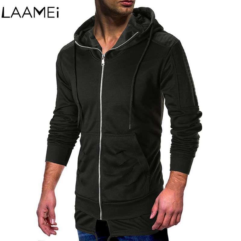 cdee3eb2 Laamei Streetwear Men's Sweatershirt Slim Hip Hop Men's Hooded Sweatshirt  Hole Corrugated Sleeve Shoulder Stitching Sweatshirts