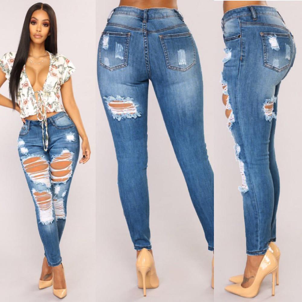 c04b5b07fa0 Acheter Pantalon Femme Femmes Jeans Denim Trou Femme Mi Taille Ceinture  Stretch Mince Sexy Crayon Pantalon LeggingsSlim Jeans Jeans Femme Taille  Haute De ...