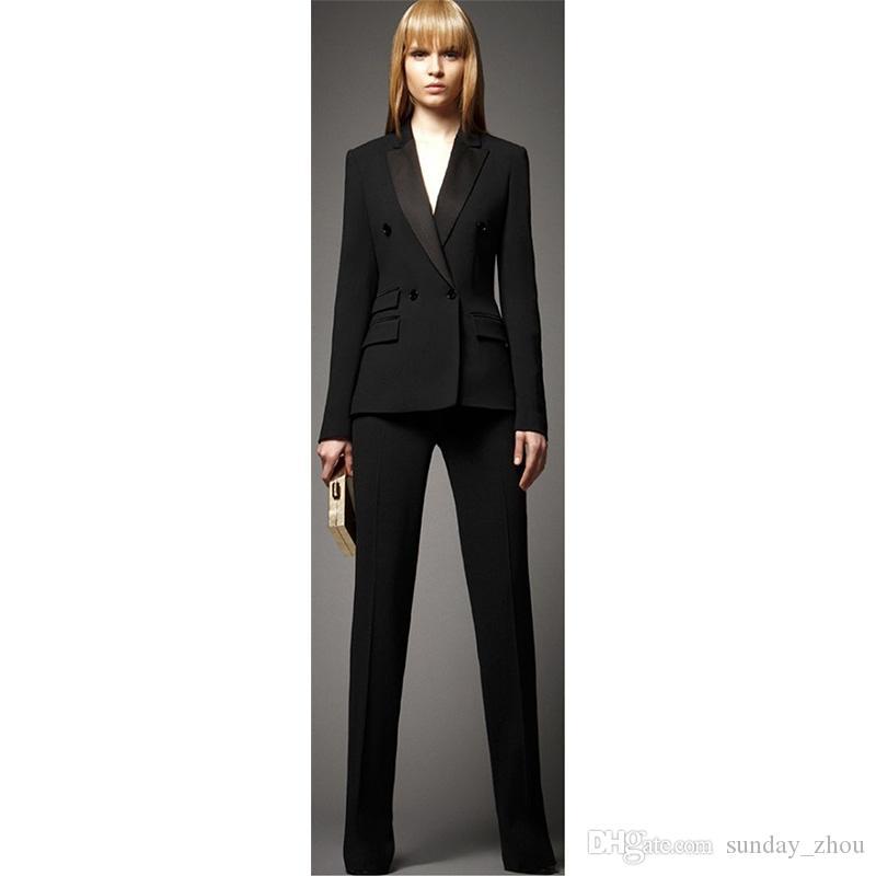 f567d2c3ceee Acquista Set Completo Da Donna Giacca + Pantaloni Nero Doppio Petto Ms.  Office Uniform Suit Da Donna In Due Pezzi A  114.58 Dal Sunday zhou