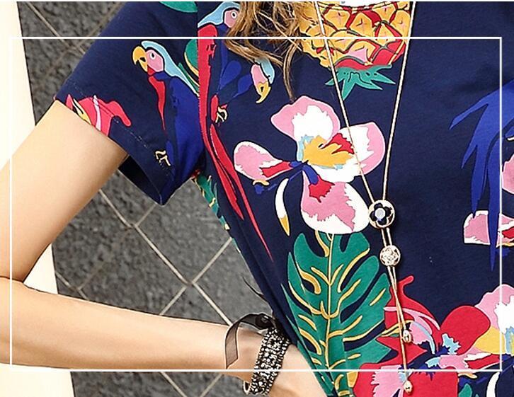 Nova Euro 2018 primavera e verão sexy designer de manga curta floral fina de comprimento médio frutas impresso vestido frete grátis