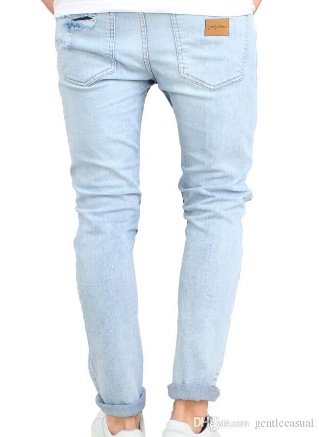 Été hommes Vêtements Holes genou Jeans High Street longues Skinny Pantalons Jeans Homme
