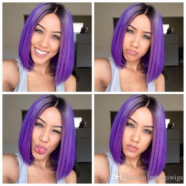 Ombre Purple Wigs Short Bob Synthetic Lace Front Wig Full Glueless Natural  Black Purple Heat Resistant Hair Women Wigs Short Bobo Hair Natural Wigs  For ... 595cb025e