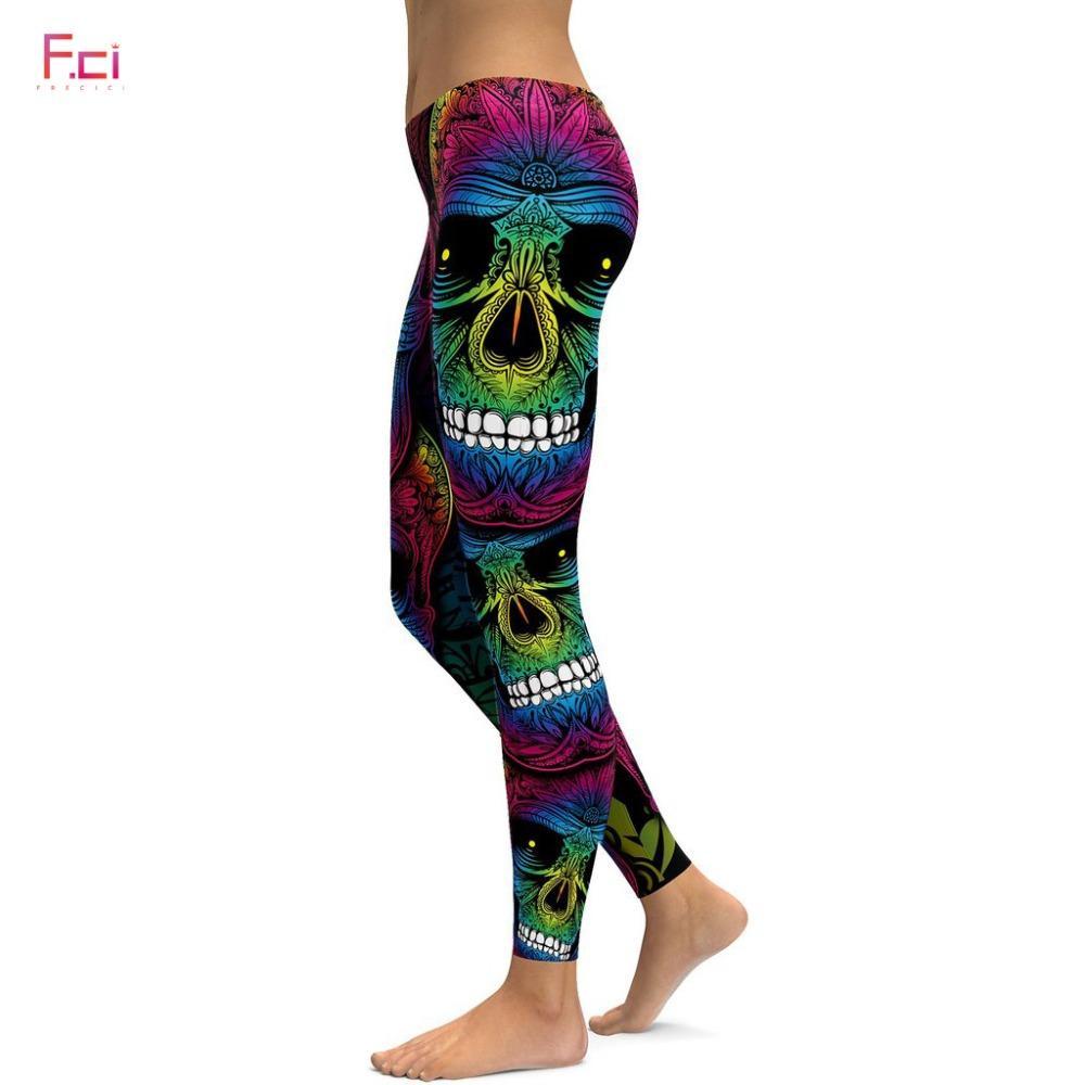 7864f88454de8 2019 FRECICI 2018 Rainbow Skull Leggings Women Plus Size Leggings Workout  Casual High Waist Slim Pants S~4XL Plus Size From Balsamor, $37.63 |  DHgate.Com