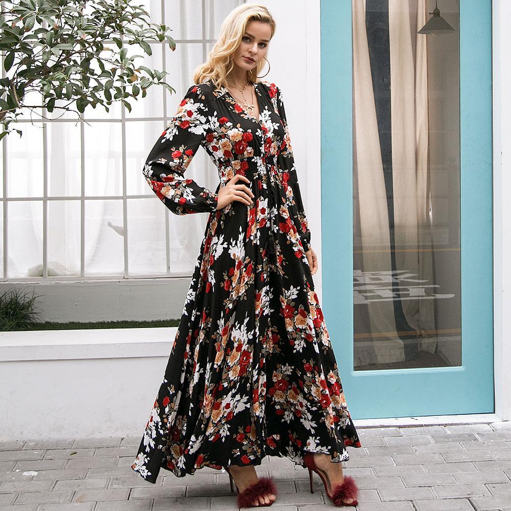 60fb354d66 Women Bohemian Black Floral Maxi Dresses 2018 Hot Loose Bandage Button Big  Swing Pullover Travel Beach Lovely Boho Long Dress White Summer Dresses For  ...