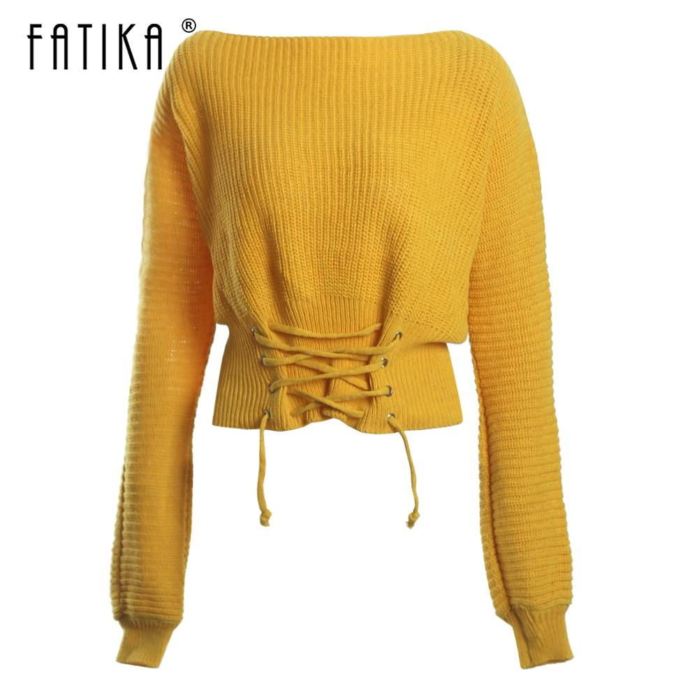 Fatika Pullover Sweater Lace up Maglioni allentati Solid Knit Slash Neck Moda 2018 Autunno Inverno Abbigliamento donna