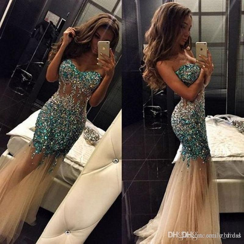 Mermaid Crystal Dresses Sweetheart Tulle Vestidos De Fiesta Red Carpet Dresses Sweep Train Formal Evening Party Prom Gowns