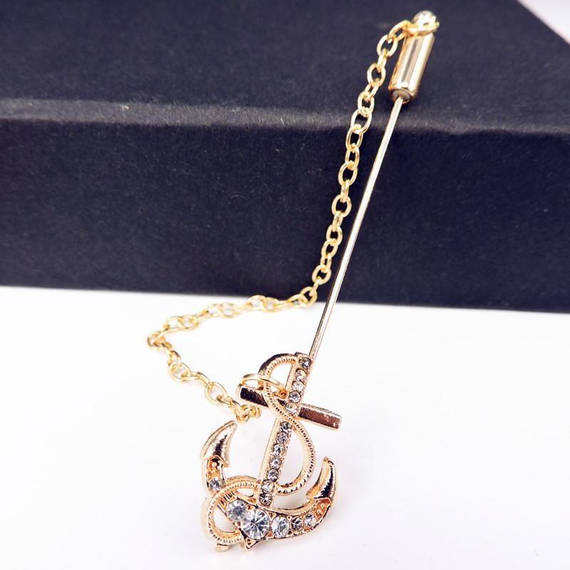 6ec58d9b5ca 2019 Wholesale Bovvsky Men Crystal Anchor Brooches Long Pin Tassel Chain  Men Suit Collar Brooch Pin Corsage Banquet Wedding Accessories From  Kampuck, ...