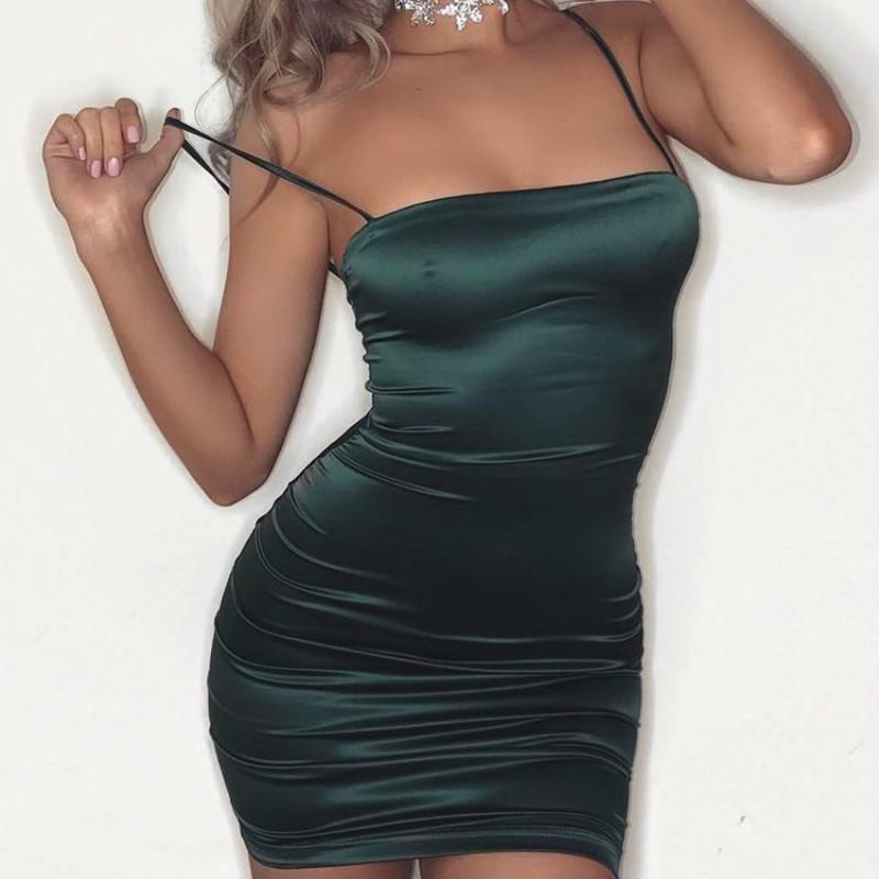 4a45bf6685d4 Acquista Sexy Night Club Donna Senza Maniche Mini Abito Corto Elegante 2019  Estate Strappy Verde Vestitino Aderente Vestido Feminino A  24.64 Dal ...